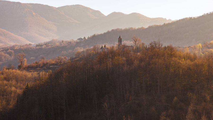 Ascent Church Trees Wood Italy Land Landscape Mountain Mountain Range Nature No People Outdoors Scenics - Nature Sunset Tree