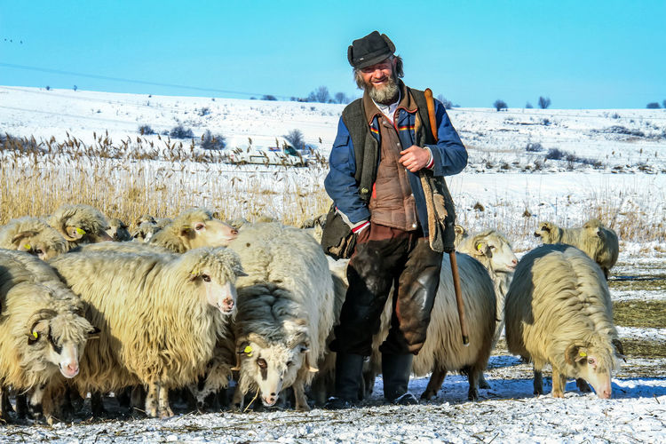 Shepherd Of The Sheep Cold Temperature Day Domestic Animals Front View Full Length Happiness Large Group Of Animals Leisure Activity Lifestyles Livestock Looking At Camera Mammal Mid Adult Mid Adult Men Nature Outdoors Portrait Real People Sky Smiling Standing Warm Clothing Winter Young Adult