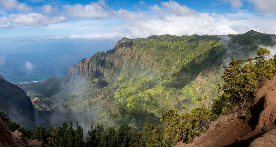 Gorgeous dramatic landscape from the Kalalau Valley overlook on the hawaiian island of Kauai with mist rolling in off the sea Kauai Hawaii Island Hawaiian Hawaiian Islands Kalalau Kalalau Lookout Kalalau Valley Ocean Pacific Ocean Beauty In Nature Scenics - Nature Tranquil Scene Mountain Nature No People Outdoors Landscape Dramatic Landscape Dramatic Mist View Gorgeous