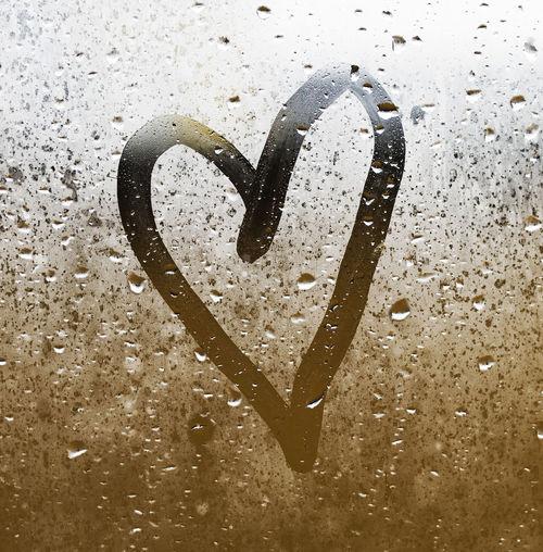 Close-up of heart shape on wet window