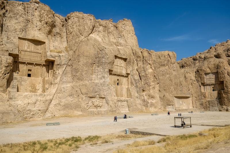 Naqsh-e rustam or rostam, the achaemenid and sassanid era buildings. fars province, iran.