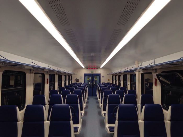 Almost empty train to the airport. The Purist (no Edit, No Filter) Symmetry Empty Train Night Russian Railways