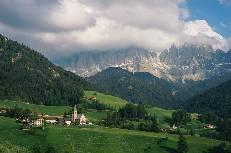 Dolomite Italy Mountain Scenics - Nature Landscape Environment Cloud - Sky Sky Beauty In Nature Mountain Range Plant Tree Architecture Building Land Nature Rural Scene Tranquil Scene Green Color Field Tranquility No People Outdoors Italy Landscape_Collection Landscape_photography