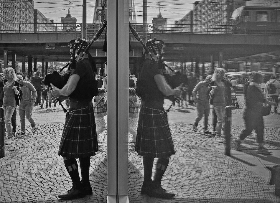 The Piper at the gates of dawn... Streetphoto_bw Skirt Time Black & White Monochrome Urban Life Reflection_collection