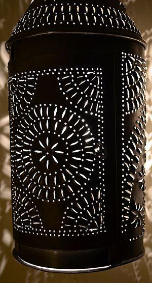 Illuminated tin lantern Close-up Illuminated Indoors  Lamp Lantern No People Pattern Pjpink Tin Light