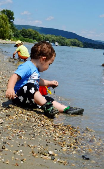 Nature Beauty In Nature Nature_collection Nature Photography Baby Babyboy Kids Mountain River Summer Road Tripping Water Full Length Beach Sand Childhood Sky