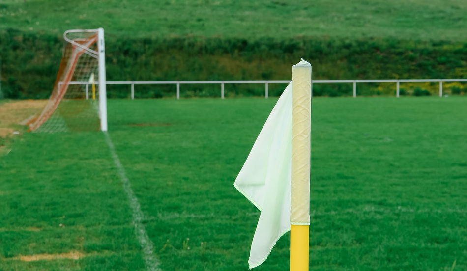 Eckfahne Green Color Absence Corner Flag Day Field Focus On Foreground Football Football Field Goal Line Goal Post Grass Green Color Land Nature No People Outdoors Plant Playing Field Soccer Soccer Field Soccer Goal Sport Sports Equipment Team Sport