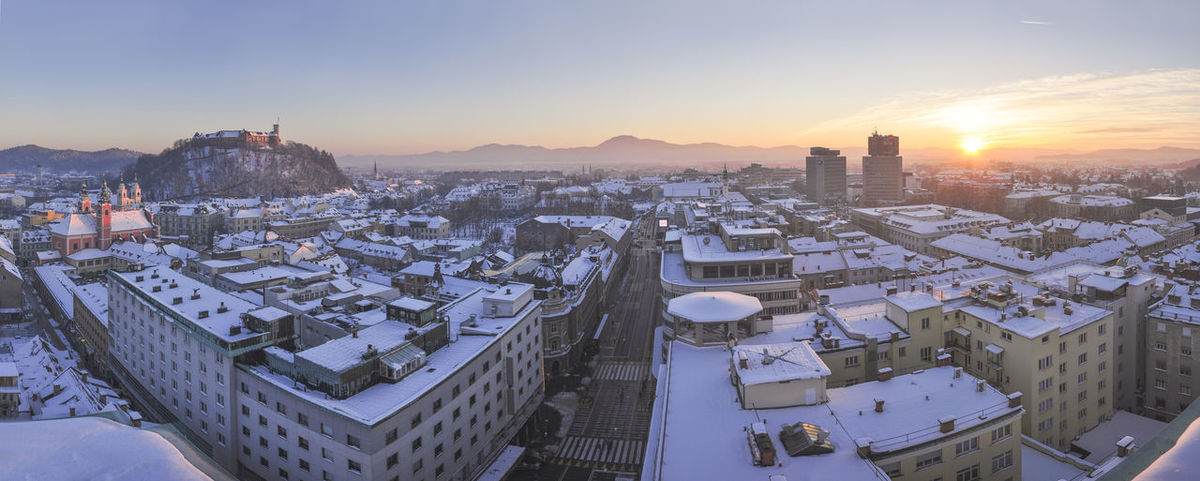 Beutiful  Breeze Cityscape Cold Dramatic Sunset End Of The Day Large Print Large View  Ljubljana Ljubljana Castle Ljubljana, Slovenia Ljubljanski Grad Metropolitan Neboticnik Neboticnik Panorama Quiet Sky Skycraper Slovenia Snow Sunset Tranquility Travel Wintertime Miles Away The Great Outdoors - 2017 EyeEm Awards The Architect - 2017 EyeEm Awards The Photojournalist - 2017 EyeEm Awards