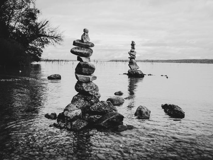 Water Sky Nature No People Tranquility Solid Rock Stone - Object Stack Cloud - Sky Sea Day Tranquil Scene Rock - Object Waterfront Beauty In Nature Scenics - Nature Balance Outdoors