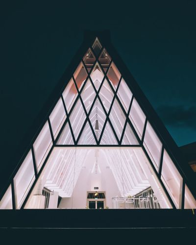 Where promises are made Light And Shadow Nightphotography Hypebeast  Shapes And Forms Symmetry Wedding Photography Wedding Form Triangle Triangle Shape Piramide Romantic Structure Calm Blue Tint Pink White Architecture Church Illuminated Modern Building Exterior