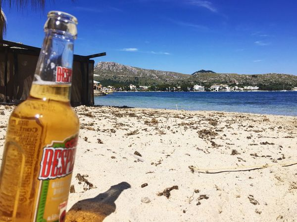 Beach Beachphotography Beer Relaxing Beach Life Sand Sea Sea And Sky Sky Mediterranean  Bottle Beer Time Chilling Desperados Sunlight Outdoors Beach Photography Blue Yellow Horizon Over Water Baleares Majorca Island Islandlife SPAIN Visual Feast