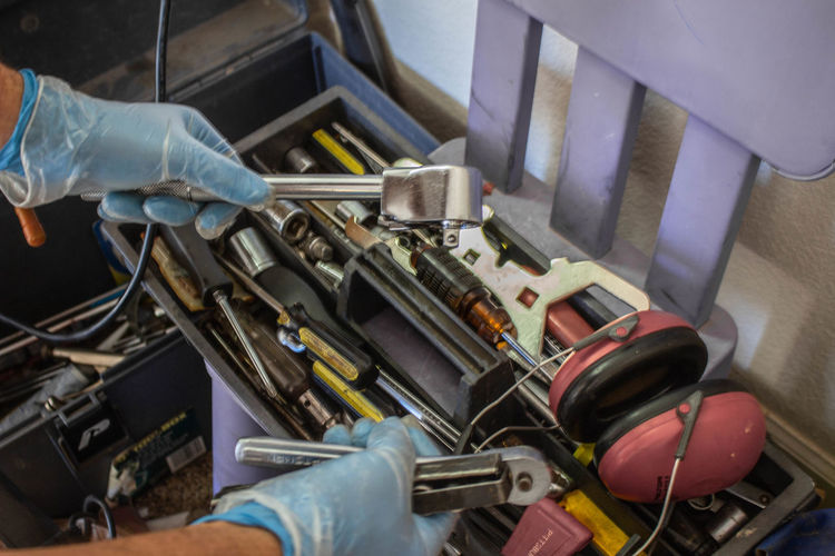 Equipment High Angle View Industry Mechanic Metal Technician Tool Box Working