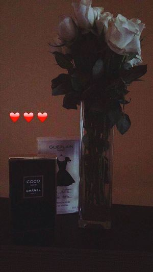 Vase Table Flower Indoors  No People Home Interior Nature Close-up Clock Day Chanel Chanelnoire Noir GUERLAIN Perfumes Roses WhiteRoses
