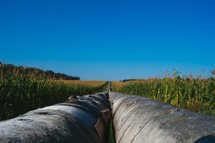 Large pipelines amidst field against clear blue sky