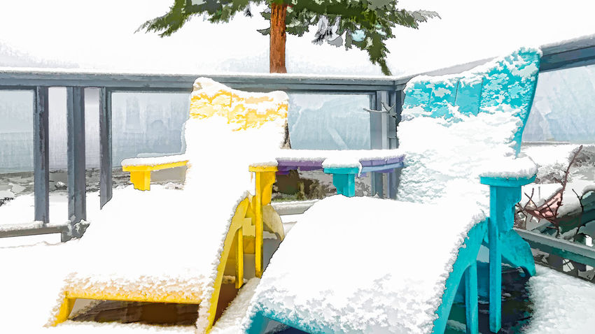 Winter Vacation Adirondack Chairs Day Group Of Objects Laundry No People Railing Snow ❄ Tranquility Winter Yellow