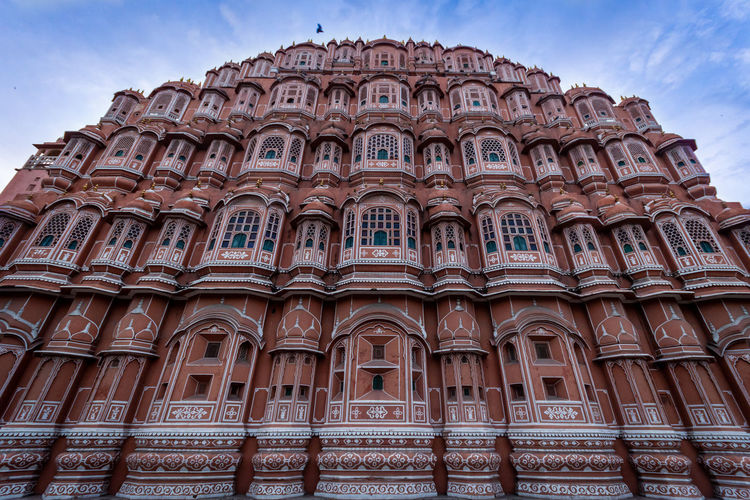 Low angle view of hawa mahal in jaipur against sky