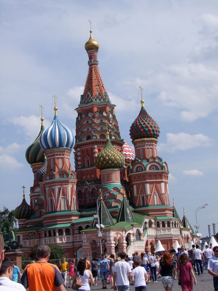 St Basil's Cathedral (1555-1561), Red Square Blue Sky White Clouds Building Exterior Cathedral Church Colourful Composition Day Domes Façade Historic History Iconic Buildings Incidental People Moscow Multi Colored Outdoor Photography Red Brick Red Square Religion Russia Tourist Attraction