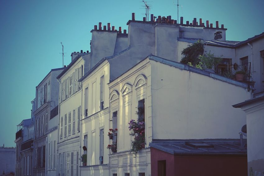 Architecture Building Building Exterior Chimney City Dusk Dusk In The City Façade Flower France House Low Angle View Paris Residential Structure Shutter Window Wooden Shutters