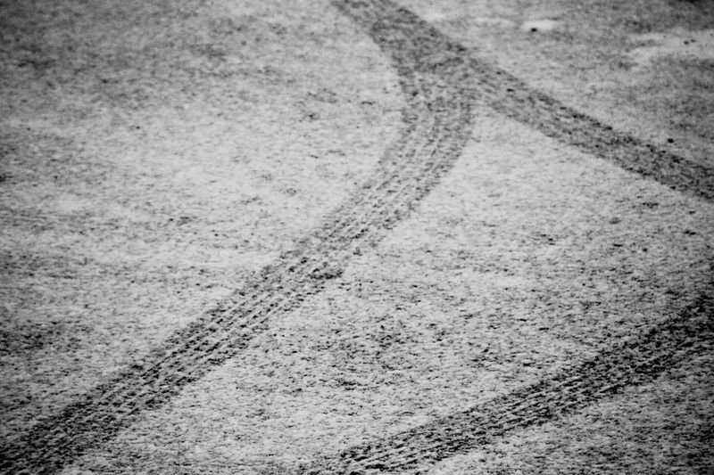 Tyre Tracks Tyre Dusting Snow Day Outdoors No People Road Close-up Nature