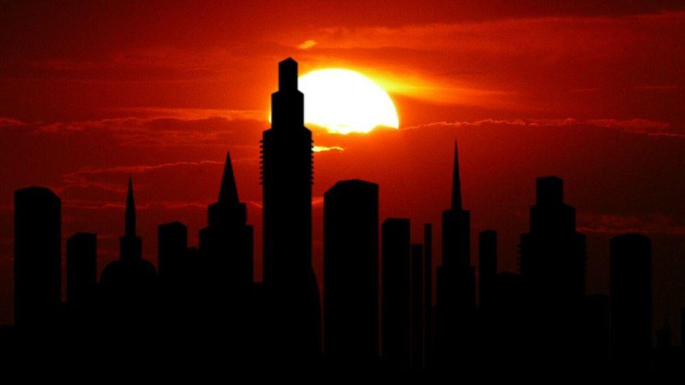 City Cityscape Urban Skyline Skyscraper Sunset Silhouette Sun Downtown District Orange Color Sky