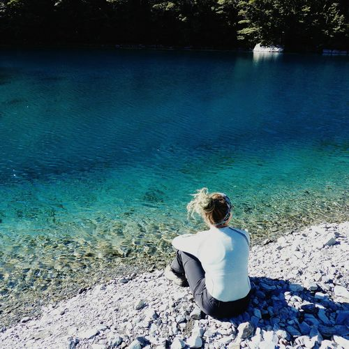 NZ NZ South Island Blue Lake Nelson Lakes National Park Tranquility Nzscenery Hiking Water Tree Beach Sand Sea Rear View Sitting Full Length Summer Turquoise Colored Idyllic Calm Lakeside Remote Non-urban Scene