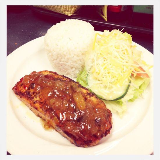 Pineapple Roasted Salmon W/salad & White Rice