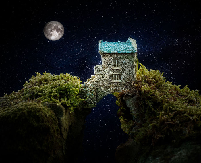 Dream house Night Moon Astronomy Space Tree Nature Full Moon Star - Space Plant Sky No People Architecture Low Angle View Built Structure Moonlight Star Galaxy Beauty In Nature Illuminated Dark Digital Composite Planetary Moon
