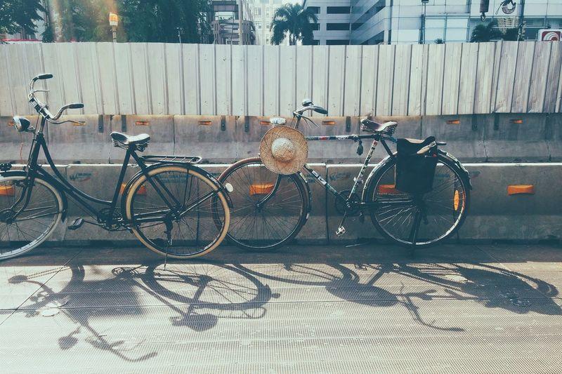 Bicycles parked on sidewalk