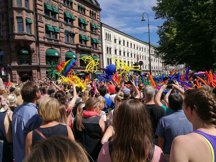Arts Culture And Entertainment Summer Outdoors Crowd People Building Exterior Large Group Of People City Day Adult Architecture Politics And Government Adults Only Sky Gay Pride Prideparade Pride Parade Pride2017 Oslopride Gay Pride Sommergefühle