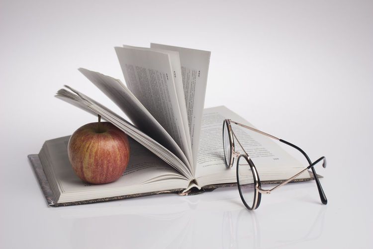 Books Blank Book Close-up Eyeglasses  Food Food And Drink Glasses Group Of Objects High Angle View Indoors  No People Open Paper Publication Still Life Studio Shot Table Wellbeing White Background White Color