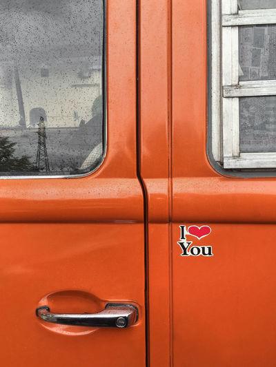 Close-up of red car door