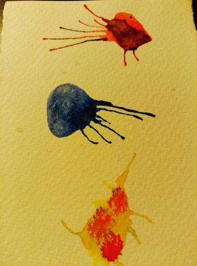 Ocell,medusa i nan Painting ArtWork Painting Art Art, Drawing, Creativity Formes Strange Form Pintando... Acuarelas Acuarelando.... Dibuixant