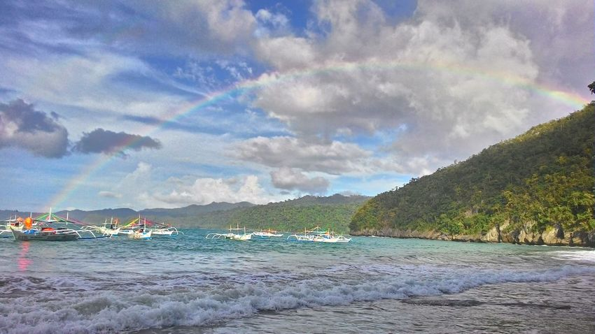 Full splendour Rainbow Rainbow Sky Sea And Sky No Filter No Edit Turquoise Water Sailing Boat Banca Puerto Princesa Philippines Vibrant Colors Island Paradise Island Cheerful Sunshine Clouds And Sky Holiday The Best From Holiday POV Share Your Adventure Magic Moments Showcase: February Travel Backpackers Come With Me And Let Me Show You My World