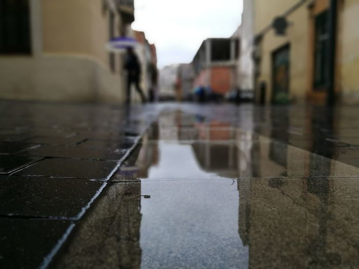 Surface level of wet street