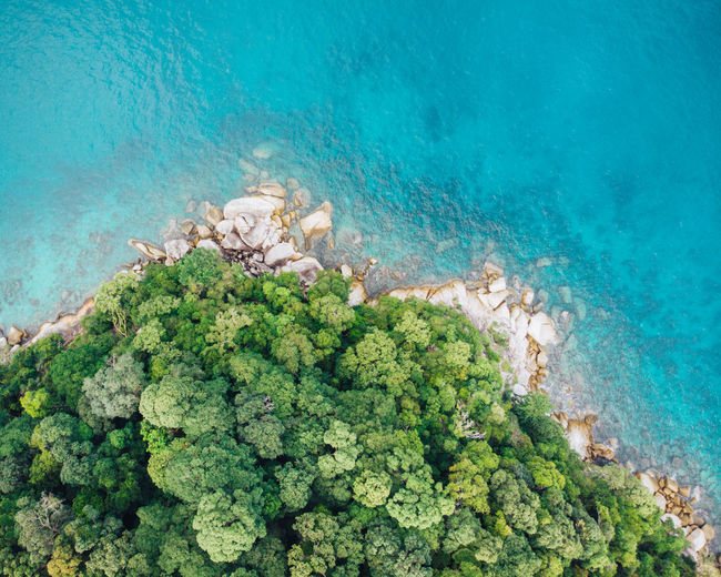 Aerial view from a beach in malaysia