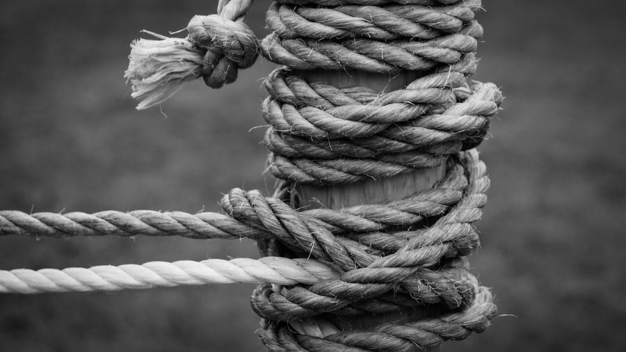 Close-Up Of Rope Tied To Wooden Pole