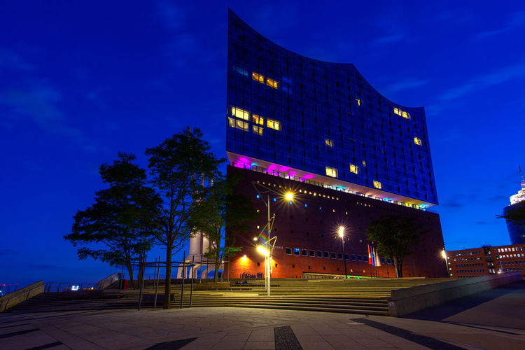 Hafencity Hamburg Hamburg Hamburg Harbour Architecture Blue Building Building Exterior Built Structure City Dusk Illuminated Low Angle View Modern Nature Night No People Office Building Exterior Outdoors Plant Road Sky Skyscraper Street Transportation Tree
