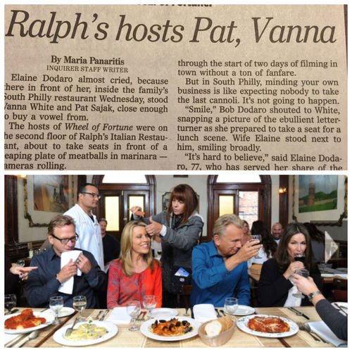Pat Sajak & Vanna White filmed at my family's restaurant yesterday. My dad & stepmom loved every minute of it! They're mentioned in the article. LaFamilia