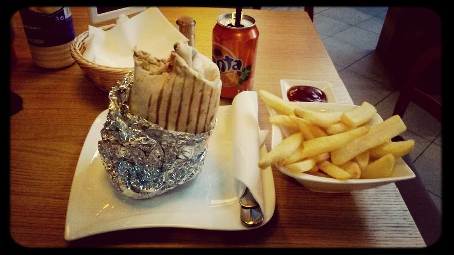 Oops... first bite before taking photo, sorry... ^^' Anyway, that's some big-ass burrito with a companions of fries & soda drink. Check it out in Boss Burger fast-food restaurant in Warsaw if ya have big appetite ;) I had & my stomach was happy... Well, lil bit much ;D But we are ok now, I guess ;p Food Burrito Boss Burger Warsaw