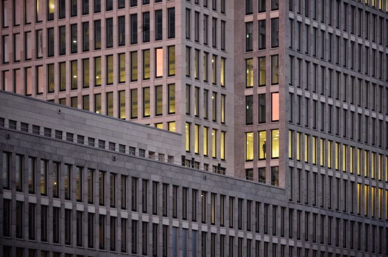the last one out turn off the light Frankfurt Am Main Facades Façade Windows Window Man At Work Skyscraper Architecture_collection Architecture Office Office Building Building Minimalist Architecture Yellow Lines Lines And Shapes Minimal Minimalism Pastel Sunset Financial Finance Freshness Architecture Full Frame Building Exterior Built Structure Day City The Graphic City The Architect - 2018 EyeEm Awards