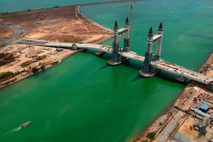 Water High Angle View Nature Sea Transportation Industry Day Architecture Harbor Nautical Vessel Outdoors No People Travel Aerial View Pier Commercial Dock Built Structure Mode Of Transportation Green Color Turquoise Colored