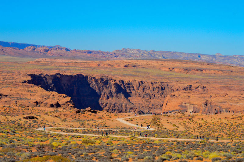 Scenic view of landscape against clear blue sky in arizona.