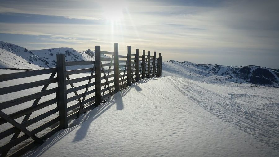 Let it snow☃ Snow Winter Fence Cold Temperature Mountain Range Non-urban Scene Mountain Nature Beauty In Nature Cold Tranquility Weather Sky Tranquil Scene Soft Snow ❄ Snowcapped Mountain Snowing Snow Mountain Snow❄⛄ Snowy