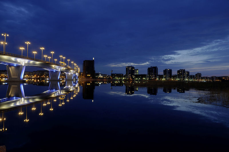 Jyväskylä Architecture Blue Bridge Bridge - Man Made Structure Built Structure City Cityscape Illuminated Lutakko Modern Night No People Reflection Scenery Sky Urban Skyline Water