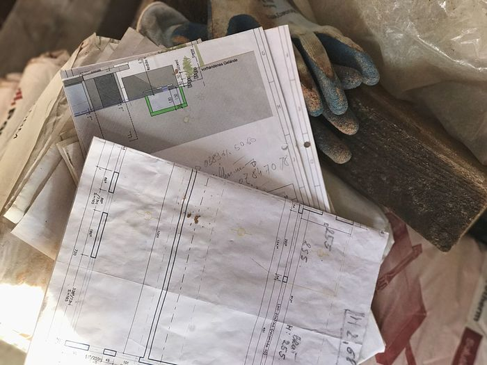 Close-up No People Day Outdoors Building Site Job Of The Day Architectural Detail Working Time Professional Building Story Indoors  Building Plans Occupation Job