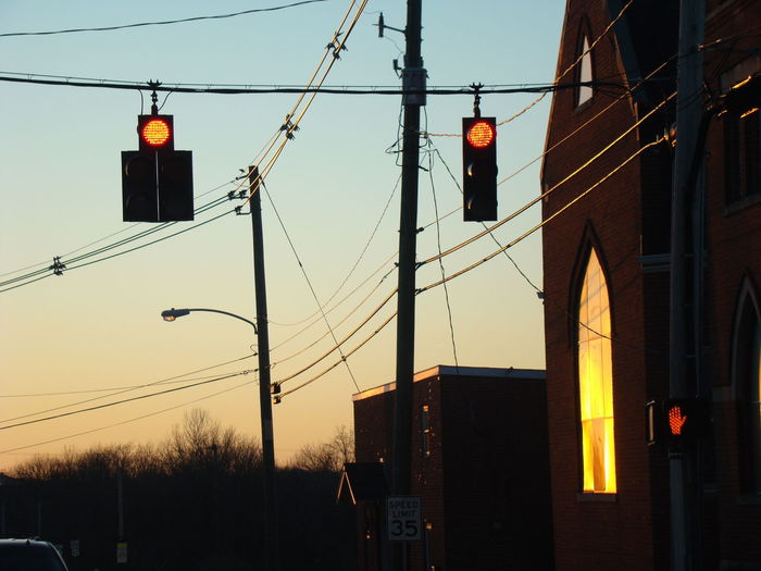 Architecture Built Structure Cable City Electricity  Illuminated No People Street Light Sunset
