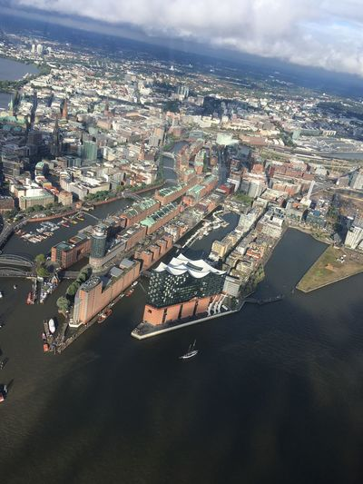 Hamburg from above Hamburg Hamburg Harbour Cityscape Architecture City Sky Aerial View Building Exterior High Angle View Cloud - Sky Built Structure Day Nature Residential Building Outdoors Elbe HH City Helicopter Helicopter View  Germany Elbphilharmonie