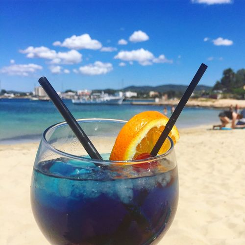 Ibiza addition Drinking Straw Beach Drink Sky Fruit Close-up Refreshment Sea Food And Drink First Eyeem Photo