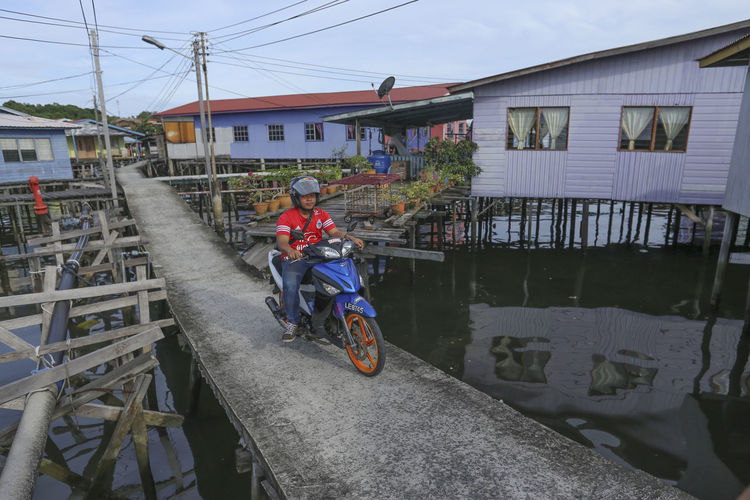 Wooden Hous Borneo Labuan Island Labuan Pearl Of Borneo Motorcycle Motorcycle Ride Stilts Houses Watervillage