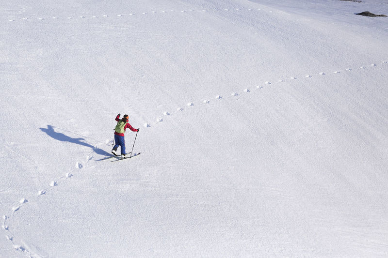 High angle view of man skiing in snow